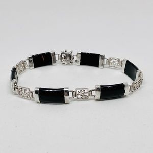 Sterling Silver Onyx Chinese Theme Link Bracelet